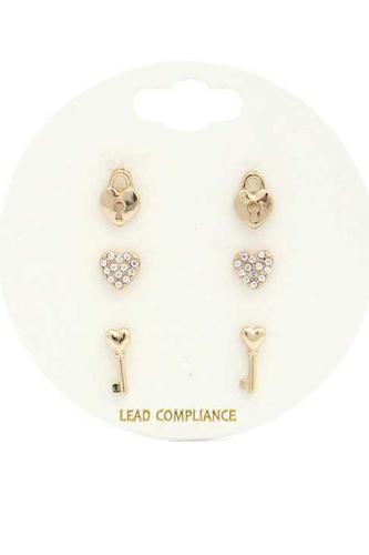 Rhinestone Heart Lock Earring Set