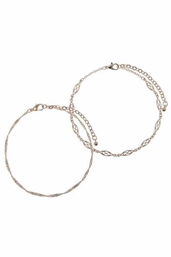 Metal Chain 2 Pc Bracelet Set