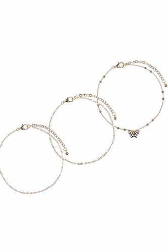 Butterfly Metal Chain 3 Pc Bracelet Set