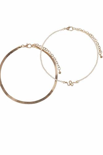 Snake Metal Chain 2 Pc Bracelet Set