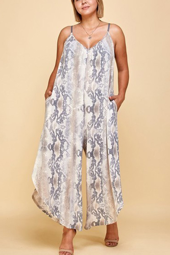 Plus Size Snakeskin Terry Printed Wide Leg Jumpsuit