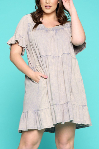 Solid Washed Knit Tiered Mini Dress