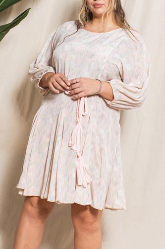 Abstract Printed Mini Swing Woven Dress