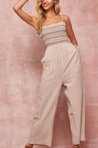 A Striped Woven Linen-blend Jumpsuit