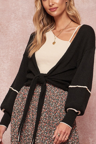 A Textured Knit Cardigan Sweater