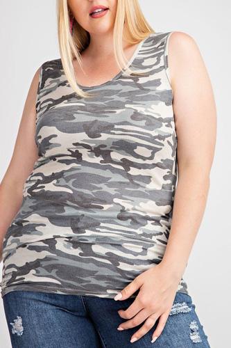Rayon Rib Printed Knit Tank Top