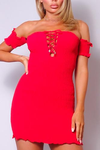 Retro Smock Off-shoulder Mini Dress