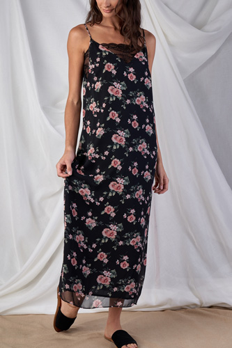 Floral Print V-neck Straight Fit Sleeveless Maxi Dress With Lace Bustier Underline Detail