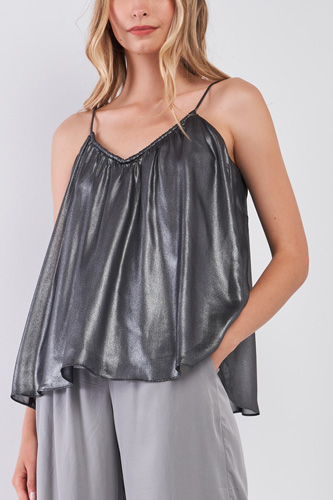 Silver Black Soft V-neck Sleeveless Gathered Loose Fit Top