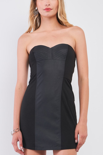Black Sleeveless Strapless Faux Leather Insert Trim Sweetheart Neck Bodycon Mini Dres