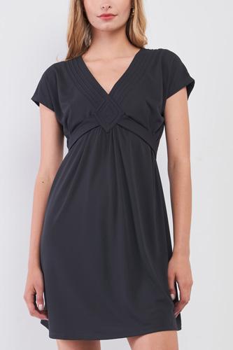 Dusty-navy V-neck Short Sleeve Front Rhombus Detail Back Tie Mini Dress