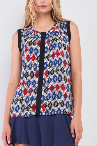 Red Multi Geometric Print Sleeveless Round Neck Loose Fit Top