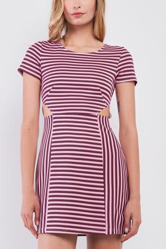 Pink & Black Striped Short Sleeve Cut-out Detail Tight Fit Mini Dress