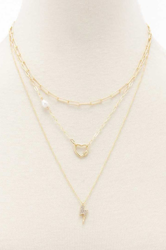 Heart Charm Oval Link Layered Necklace
