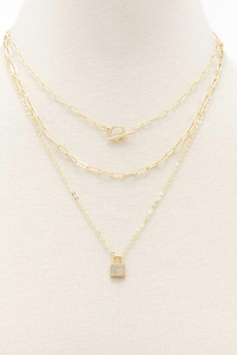 Lock Charm Oval Link Layered Necklace