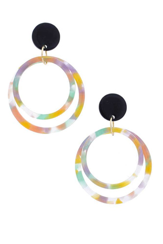 Acetate Double Circle Post Drop Earring