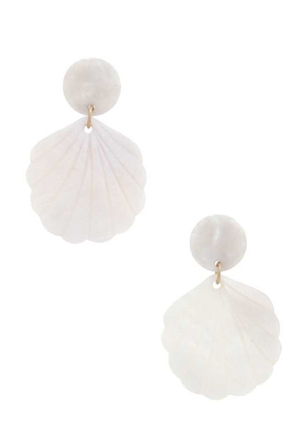 Sea Shell Acetate Post Drop Earring