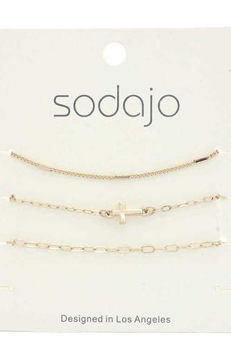 Sodajo Cross Charm Bracelet Set