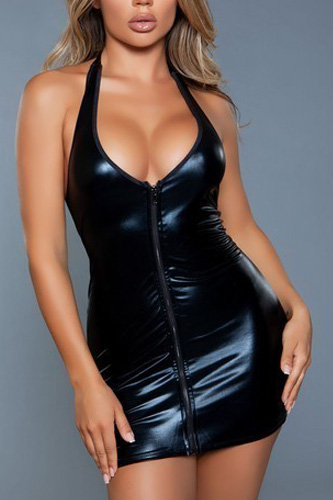 Mini-length Dress With Plunging Neckline