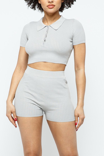 Collar Crop Top + Shorts Set