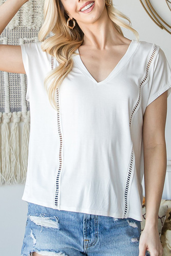 Short Sleeve V Neck Top