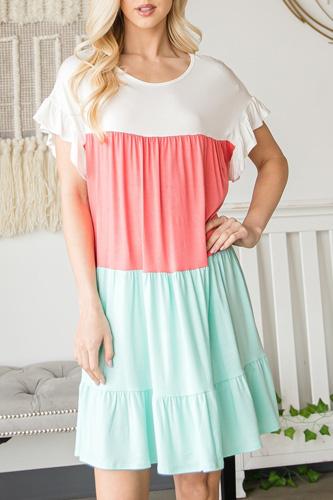 Tiered Colorblock Mini Dress
