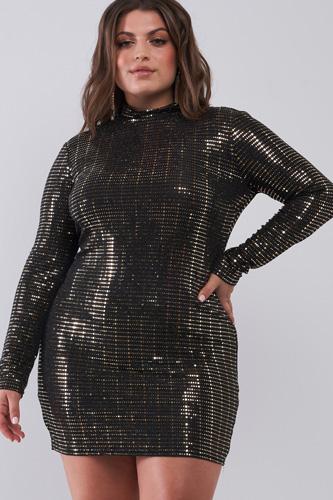 Plus Size Black Gold Sequin Mesh Long Sleeve Mock Neck Slit Back Detail Relaxed Mini Dress