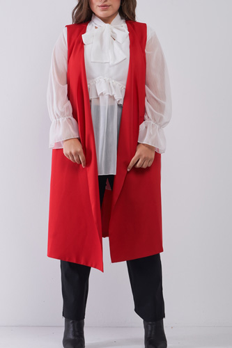 Plus Open Front And Side Sleeveless Long Vest