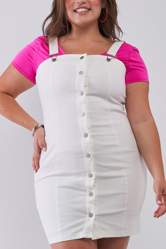 Plus Denim Sleeveless Front Snap Button Down Pinafore Mini Dress