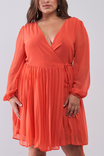 Plus Wrap Deep V-neck Long Puff Sleeve With Elasticated Cuff Pleated Mini Dress