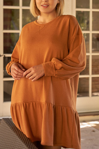 Plus Camel Round Neck Long Sleeve Drop Waist Sweatshirt Mini Dress