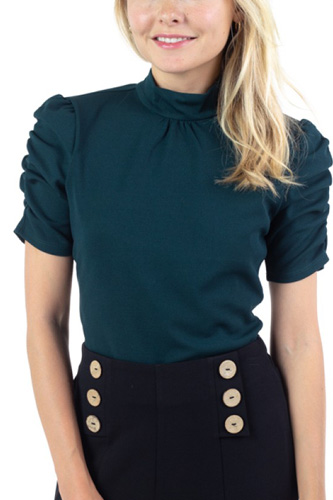 Ruched Sleeve Mock Neck Top