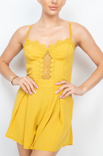 Cinched Zip Sweetheart Pleated Romper