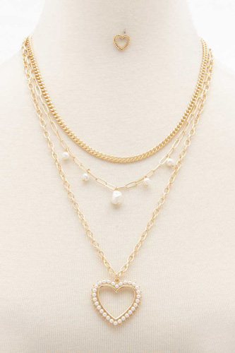 Heart Pearl Edge Charm Layered Necklace
