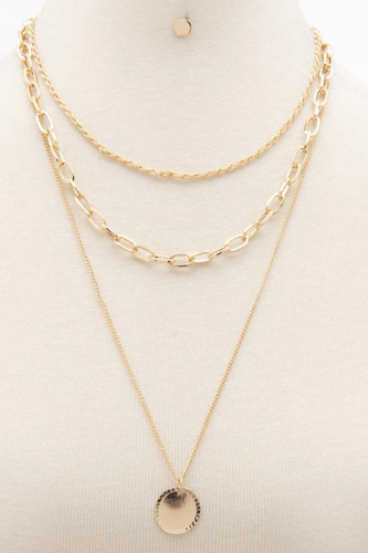 Coin Charm Oval Link Layered Necklace