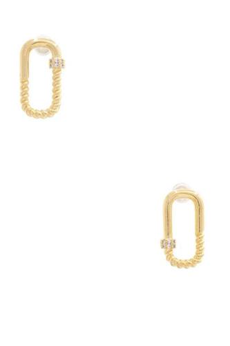 Sodajo Oval Twisted Metal Earring