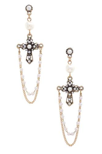 Cross Pearl Bead Dangle Earring