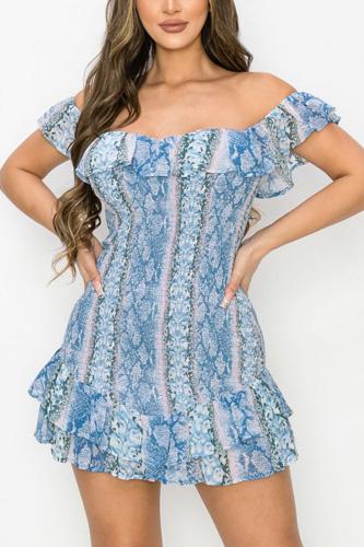 Python Ruffled Off Shoulder Smocked Mini Dress