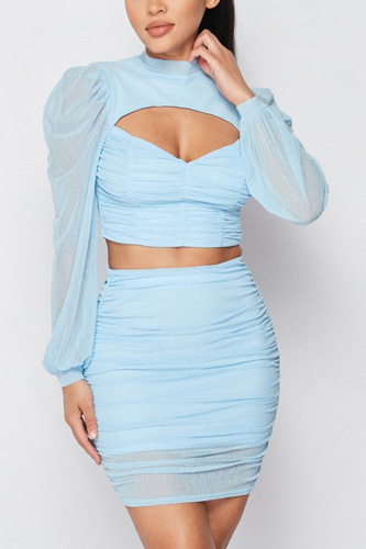Sexy Sheer Cutout Puff Sleeved Top And Skirt Set