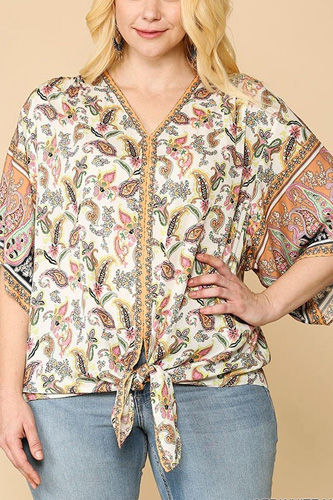Paisley Printed V-neck Top With Front Tie