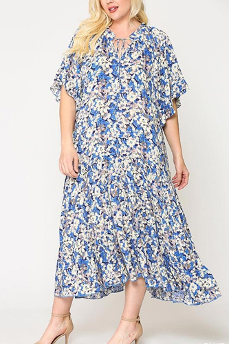 Floral Frill Detail Flowy Maxi Dress With Neck Tie