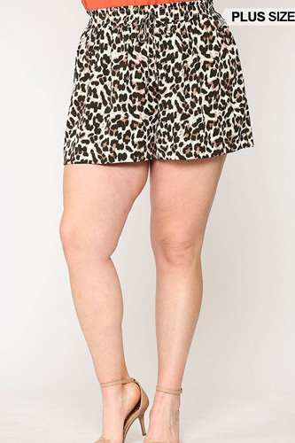 Leopard Printed Side Pocket Shorts With Waist Detail
