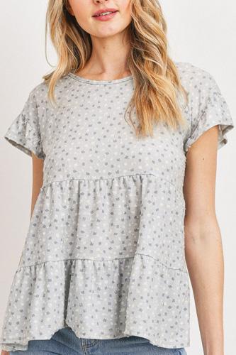 Dot Textured Print Jersey Ruffled Short Sleeve Top
