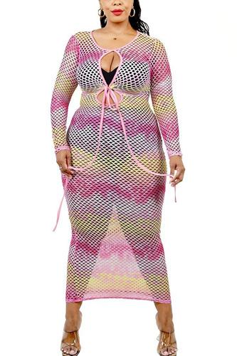 Plus See-through Gradient Fishnet Overlay Dress