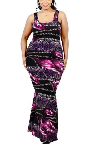 Plus Leaf & Chain Print Bodycon Maxi Dress