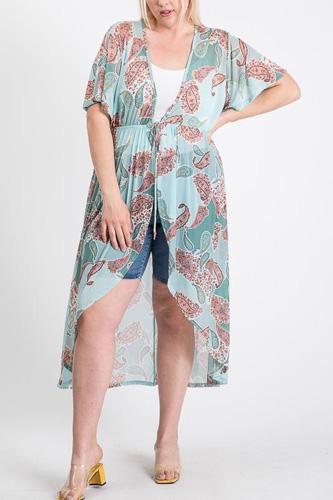 Short Sleeves Long-line Printed Mesh Open Cardigan