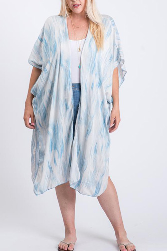 Zebra Print Short Sleeve Maxi Kimono