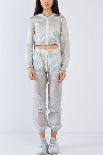 Grey Active Wear Nylon Sweatsuit Set