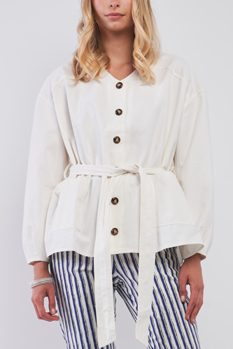 Off-white Balloon Sleeve Button-down Front Self-tie Belted Oversized Summer Jacket
