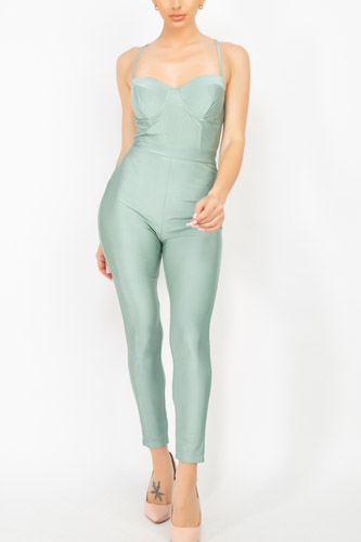Solid Skinny Cinched Sweetheart Jumpsuit